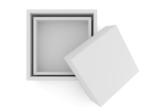 Boîte blanche sur blanc isolé