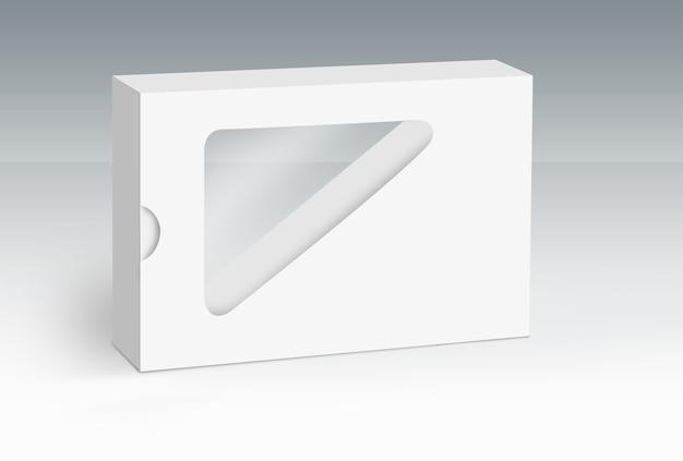 Boîte blanche unique avec trou découpé sur le sol concept série