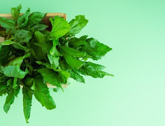 Boîte en bois aux épinards sur un fond en bois bleu. copiez l'espace. légumes concept. vue de dessus.