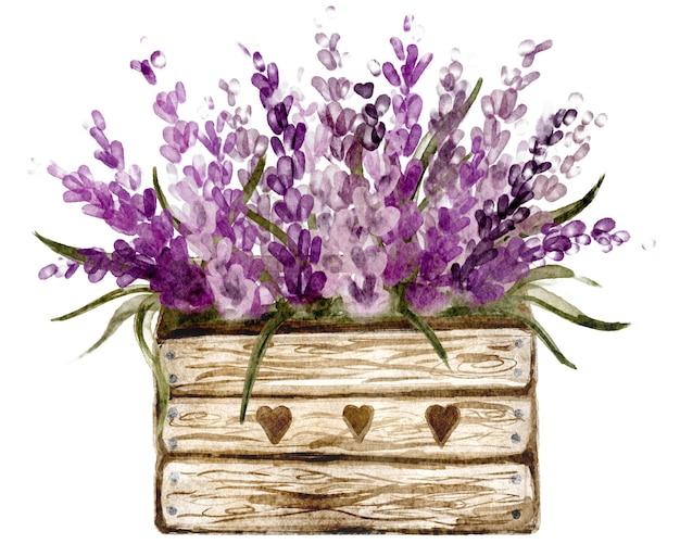 Boîte en bois florale de lavande rustique parfaite pour l'invitation et les cartes de mariage, dessin botanique pour les autocollants de printemps et les magasins de fleurs