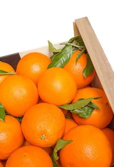 Boîte en bois d'oranges valenciennes sur fond blanc