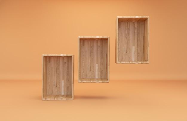 Boîte en bois vide de rendu 3d