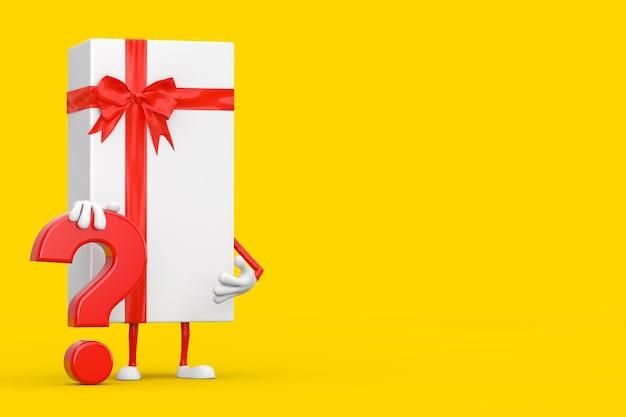 Boîte-cadeau blanche et mascotte de personnage de personne de ruban rouge avec signe de point d'interrogation rouge sur fond jaune. rendu 3d