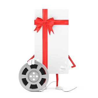 Boîte-cadeau blanche et mascotte de personnage de ruban rouge avec épingle de cible de pointeur de carte rouge sur fond blanc. rendu 3d
