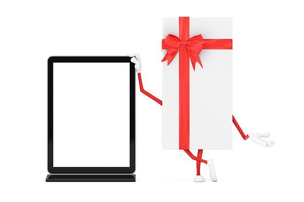Boîte-cadeau blanche et mascotte de personnage de ruban rouge avec un présentoir d'écran lcd pour salon commercial vierge comme modèle pour votre conception sur un fond blanc. rendu 3d