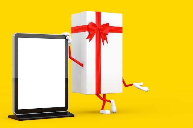 Boîte-cadeau blanche et mascotte de personnage de ruban rouge avec un présentoir d'écran lcd pour salon commercial vierge comme modèle pour votre conception sur fond jaune. rendu 3d