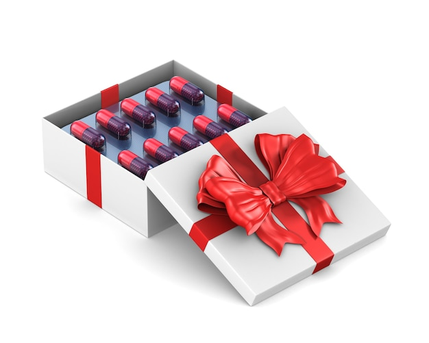 Boîte cadeau blanche ouverte avec des capsules sur un espace blanc. illustration 3d isolée