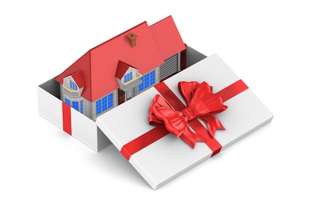 Boîte cadeau blanche ouverte et maison sur blanc