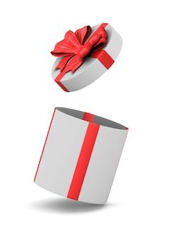 Boîte cadeau blanche ouverte avec noeud rouge sur espace blanc