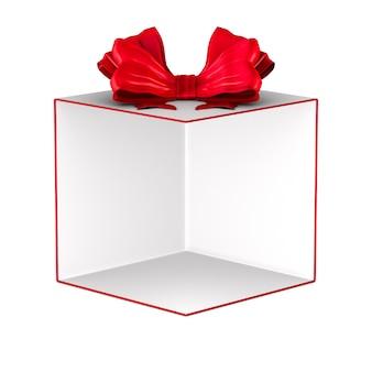 Boîte cadeau blanche ouverte avec noeud rouge sur fond blanc. illustration 3d isolée