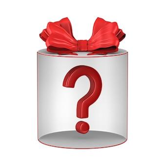 Boîte cadeau blanche ouverte avec noeud rouge et question sur blanc. illustration 3d isolée