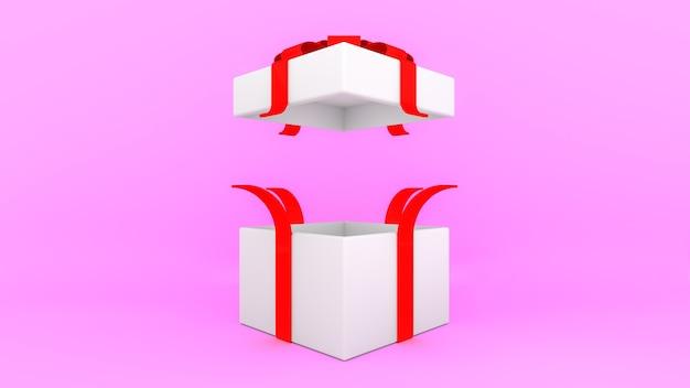 Boîte cadeau blanche ouverte avec ruban rouge sur fond rose