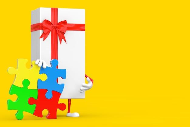 Boîte-cadeau blanche et personnage de mascotte de ruban rouge avec quatre pièces de puzzle coloré sur fond jaune. rendu 3d