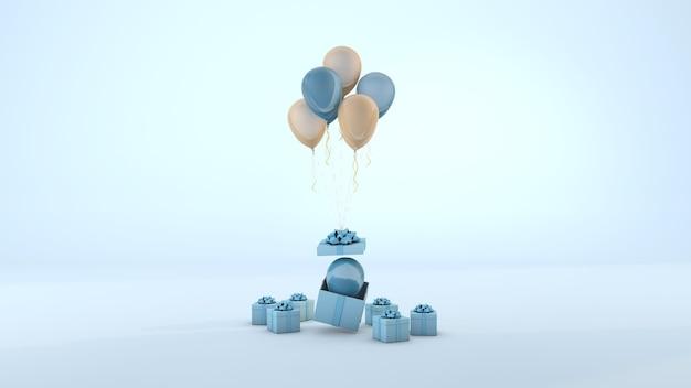Boîte cadeau bleue et ballon flottant fond bleu minimal