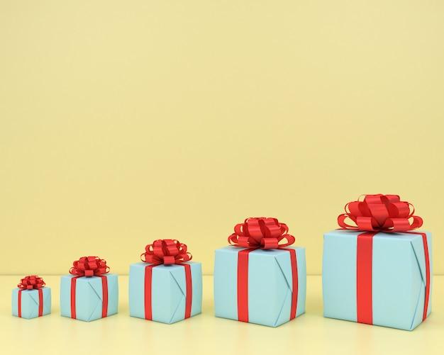 Boîte cadeau carrée et ruban rouge fond jaune rendu 3d pastel