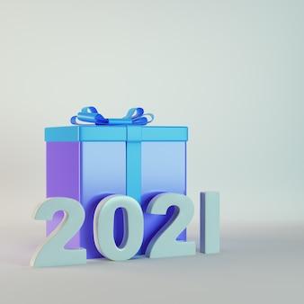 Boîte cadeau avec chiffres 2021 sur fond gris