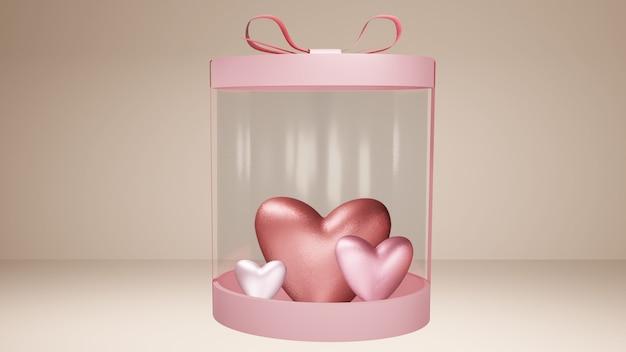 Boîte cadeau avec coeurs