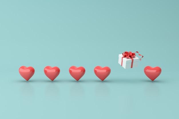 Boîte-cadeau et forme de coeur.