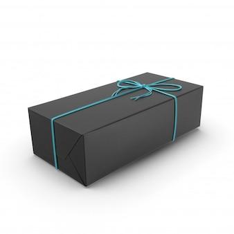 Boîte cadeau noire avec bande bleue