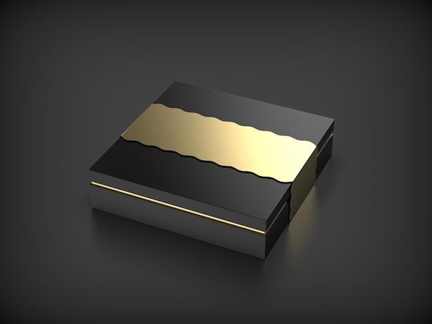 Boîte cadeau noire sur fond blanc isolé