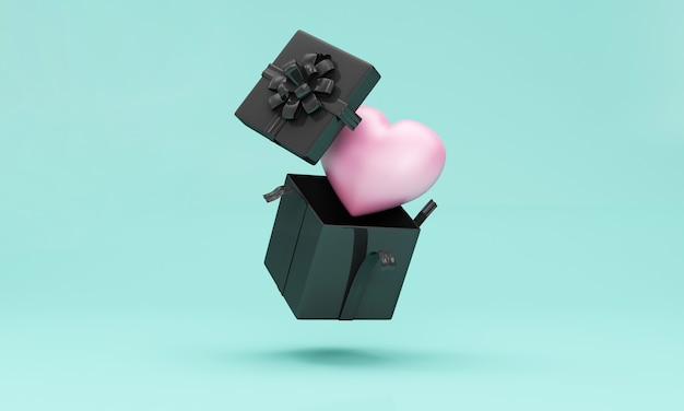 Boîte-cadeau noire ouverte par lévitation avec coeur rose à l'intérieur sur turquoise