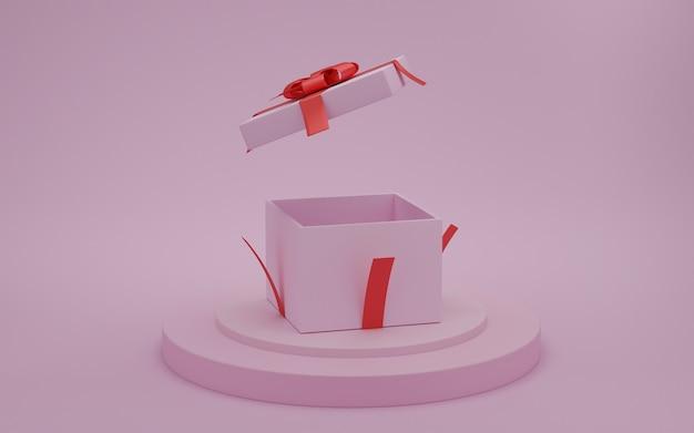 Boîte cadeau ouverte avec ruban rouge sur le podium de présentation avec fond de couleur rose, concept de la saint-valentin, rendu 3d