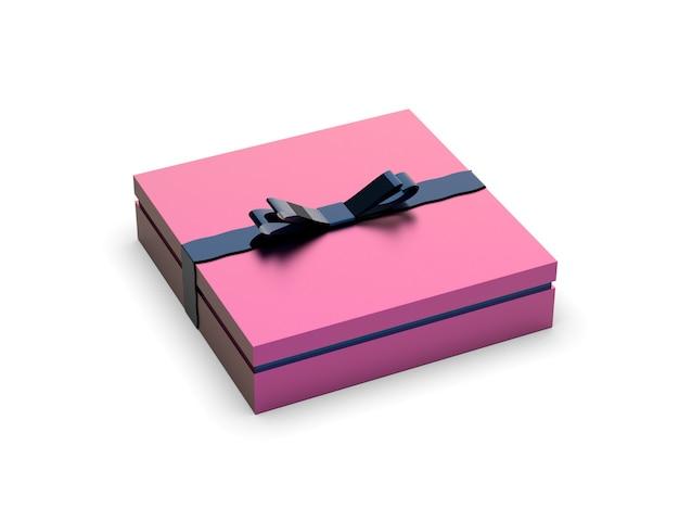 Boîte cadeau rose isolée