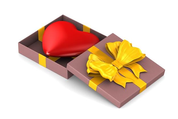 Boîte cadeau rose ouverte avec coeur sur blanc