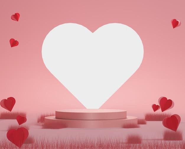 Boîte cadeau rose podium de luxe brillant, ballon rose et coeur sur fond pastel. joyeuse saint valentin.