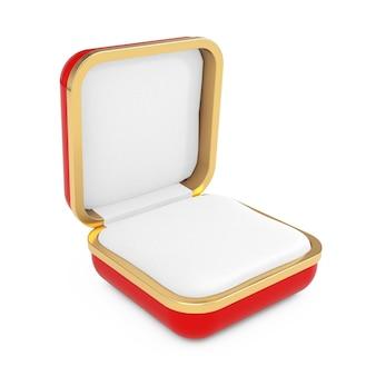 Boîte cadeau rouge vide pour bague sur fond blanc. rendu 3d