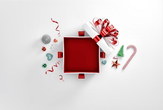 Boîte cadeau surprise rouge avec décoration de noël, vue du dessus