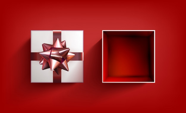 Boîte cadeau surprise. ruban de vecteur présent. une fête d'anniversaire illustration avec un arc rouge.