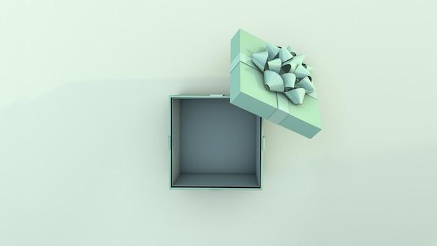 Boîte cadeau verte et ruban vert. vue de dessus