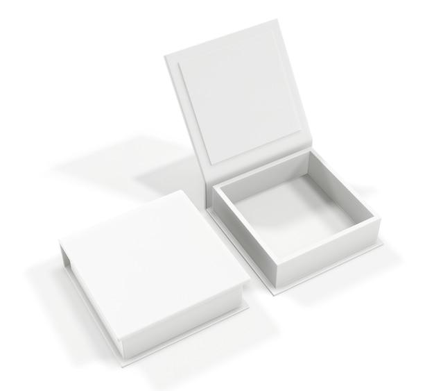 Boîte en carton blanc blanc isolé sur blanc