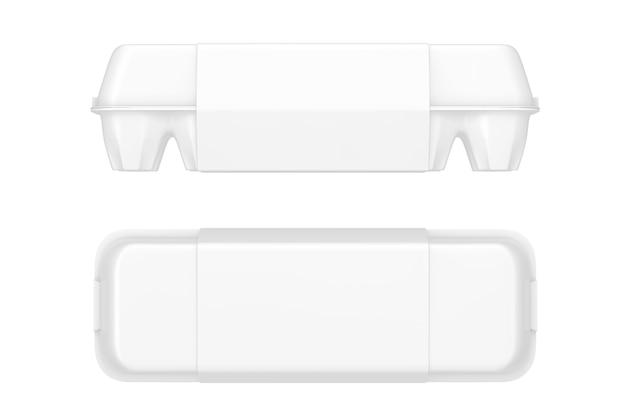 Boîte en carton blanc d'oeuf avec étiquette vierge avec espace libre pour votre conception sur fond blanc. rendu 3d