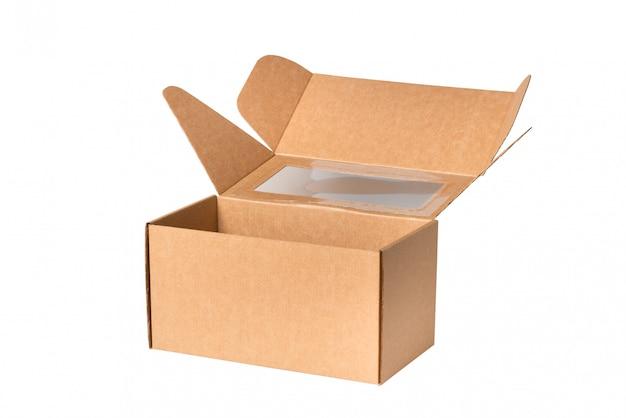Boîte en carton brun, isolé