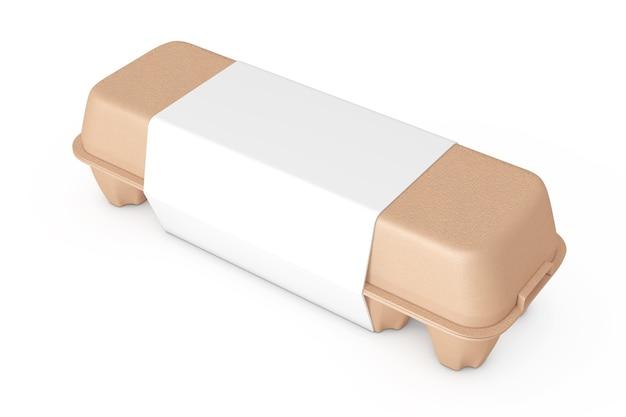 Boîte en carton brun oeuf avec étiquette vierge avec espace libre pour votre conception sur un fond blanc. rendu 3d