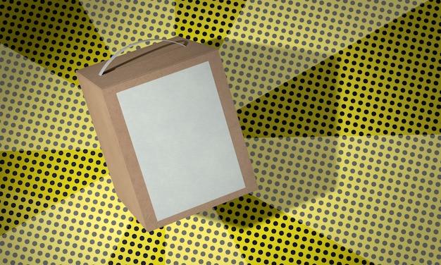 Boîte en carton de l'espace copie marron sur fond de bandes dessinées