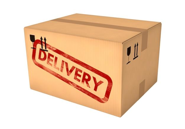 Boîte en carton fermée isolé sur fond blanc