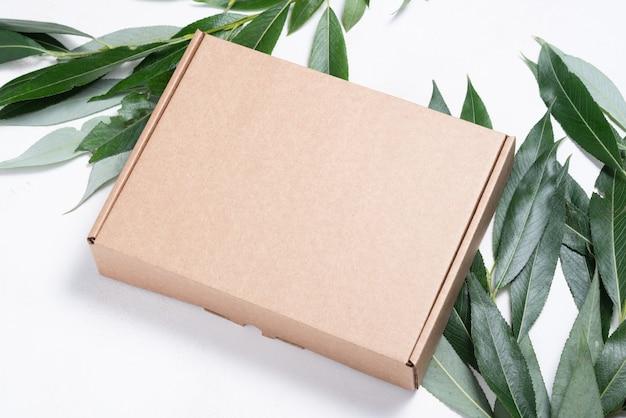Boîte en carton marron avec brosse d'arbre