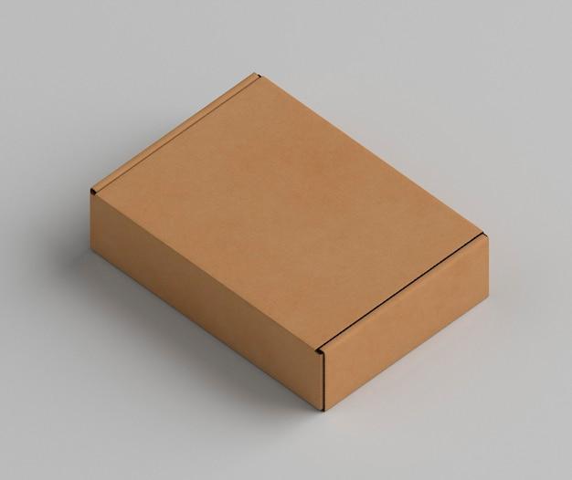Boîte en carton marron copie espace