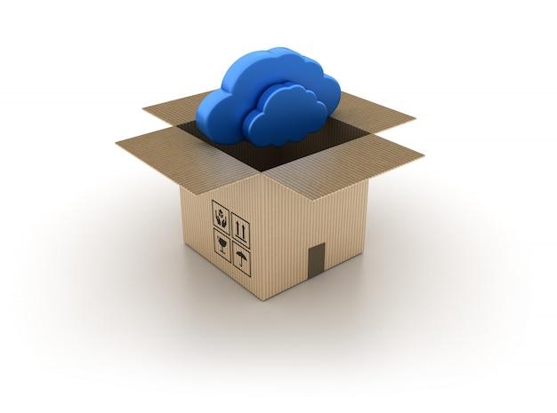 Boîte en carton avec nuage à l'intérieur