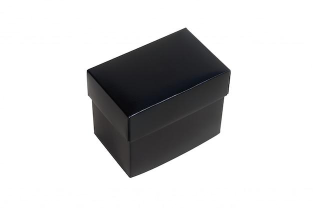 Boîte en carton de papier noir avec couvercle, isolé sur blanc