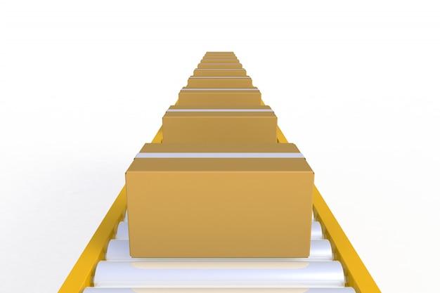 Boîte de carton vide vue de face sur la ligne de convoyeur jaune isolée sur fond blanc