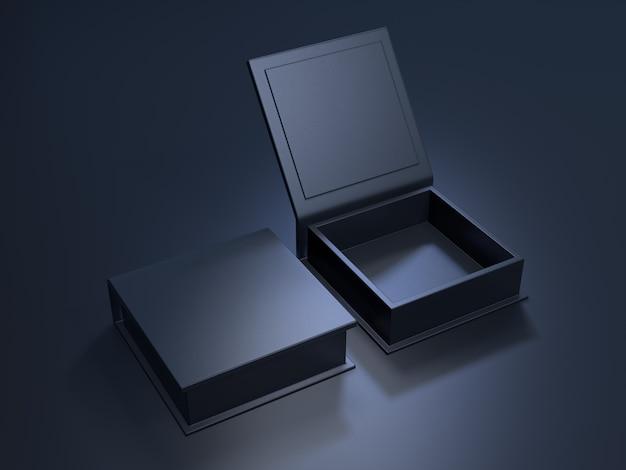 Boîte en carton vierge noire sur fond sombre