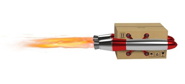 La boîte en carton vole rapidement avec une fusée. concept de livraison express et prioritaire
