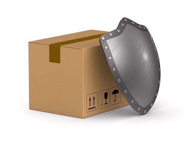 Boîte de chargement et bouclier sur surface blanche. illustration 3d isolée.