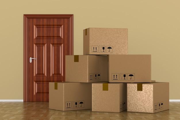 Boîte de chargement dans la chambre. illustration 3d