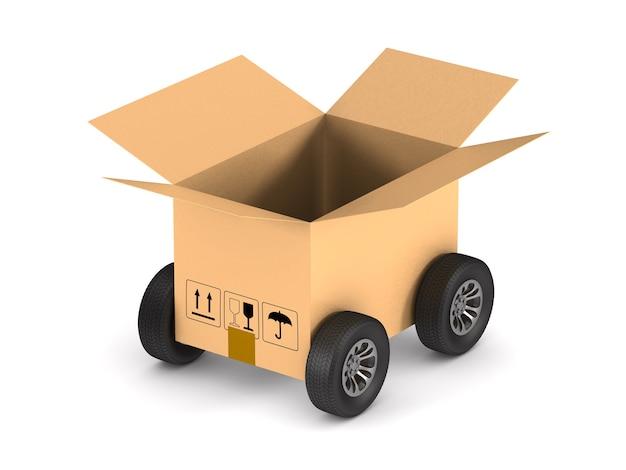 Boîte de chargement ouverte avec roue. isolé, rendu 3d