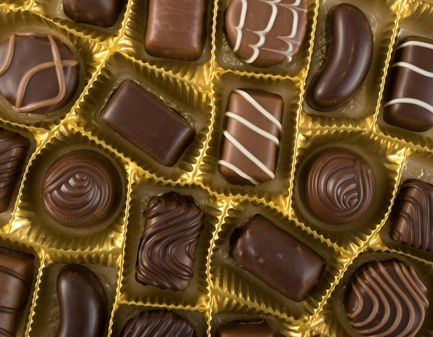 Boîte de chocolats vue de dessus
